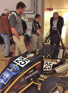 Tech's Formula SAE Enterprise car was on display during a portion of the event