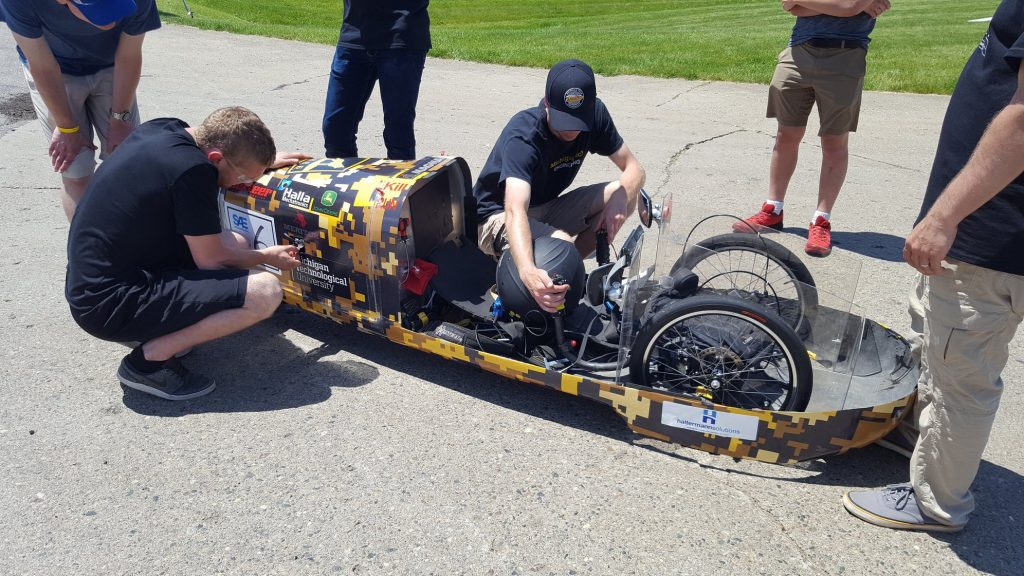 Students work on the Michigan Tech Supermileage vehicle
