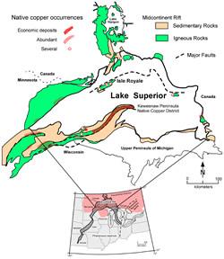 Native Copper Occurrences
