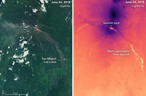 Volcan de Fuego day and night images