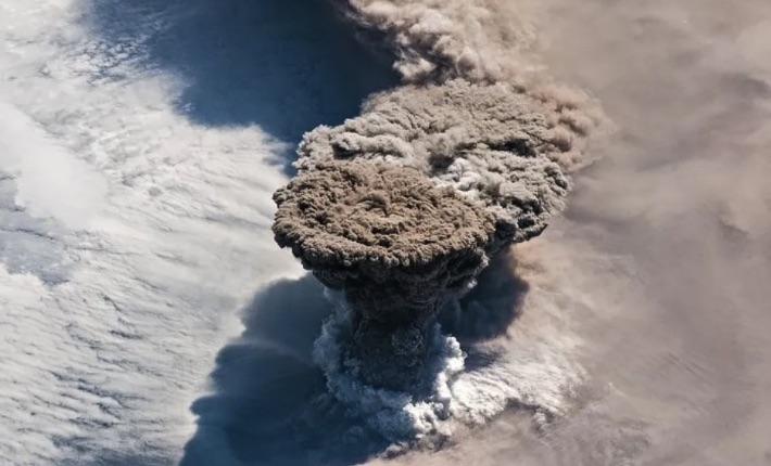 Raikoke Volcano aerial view.