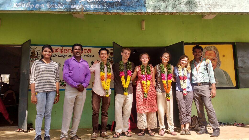 From left to right: Aishwarya, Gajapathi, Marcello, Julian, Brianna, Sarah, Nichole, Vishal at the Government High School.