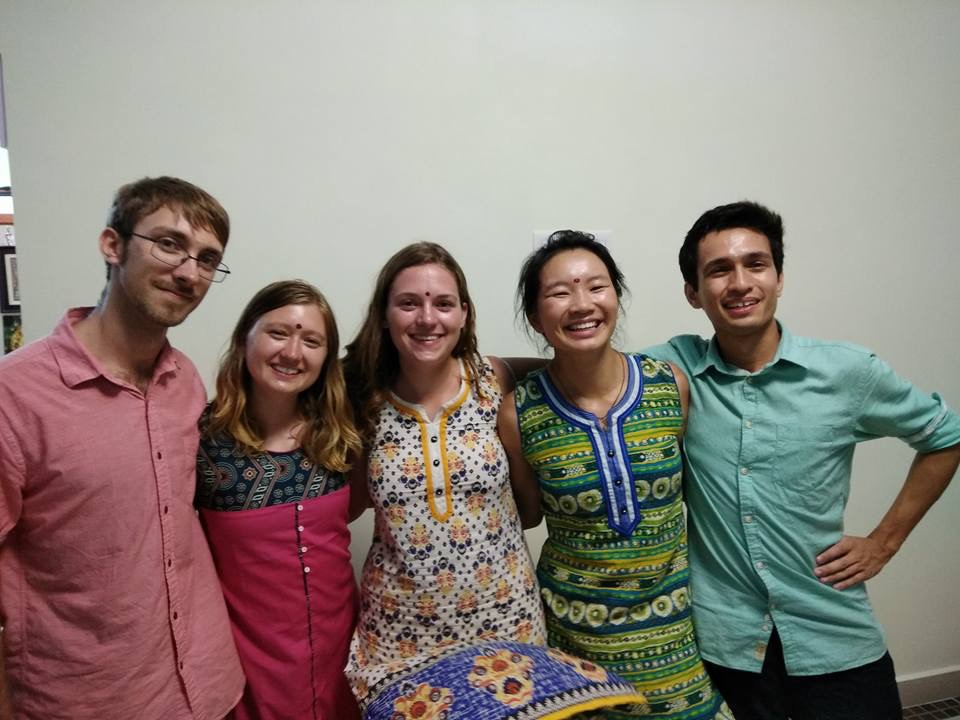 The India team from left to right: Julian, Nichole, Brianna, Sarah, Marcello at Gajapathi's home.
