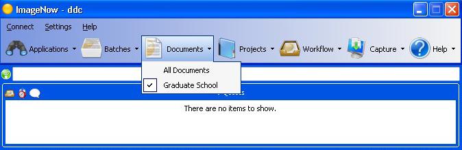 The ImageNow main menu.