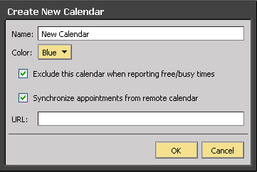 The Create New Calendar dialog box.