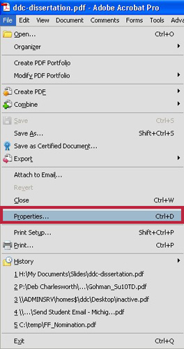 The file menu in Adobe Acrobat.