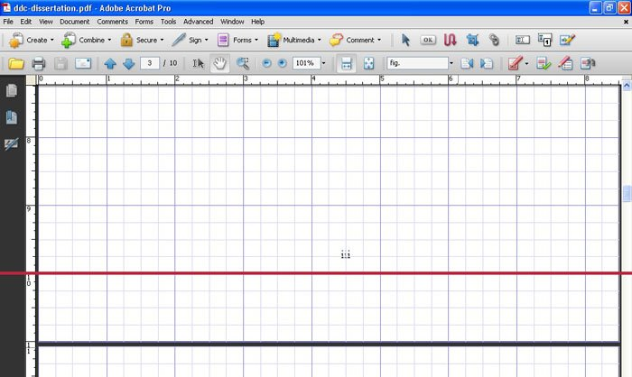 The pdf document with rulers and grid visible.