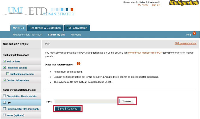 "The ""PDF"" screen in the ProQuest/UMI submission module."