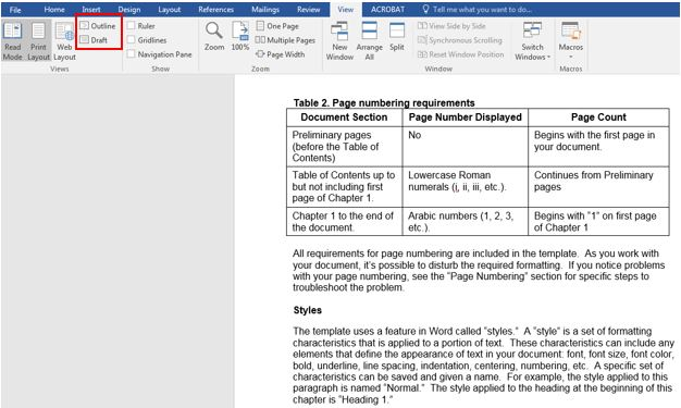The Outline view of a document with the Style area pane visible on the left.