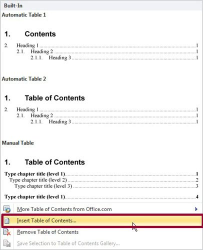 how to create table of contents in word 2007 youtube
