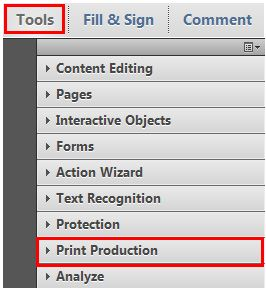 Opening The Print Production Tools In Adobe Acrobat