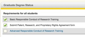 Screen shot of MyMichiganTech and the Degree Completion Timeline.  This image shows the items that are not specific to a degree type.