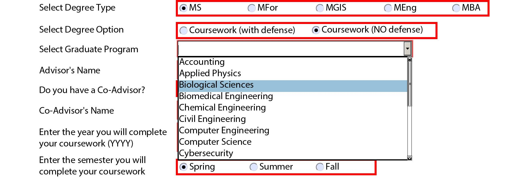 Grad Program Dropdown