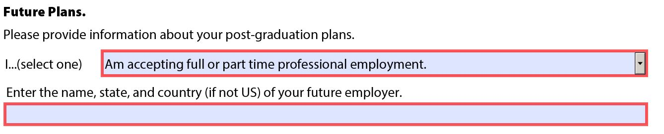 Details of future employer.