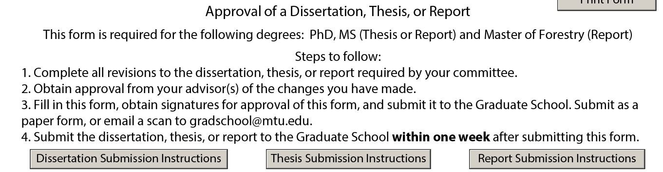 Steps to follow and Instructions for submission of form.