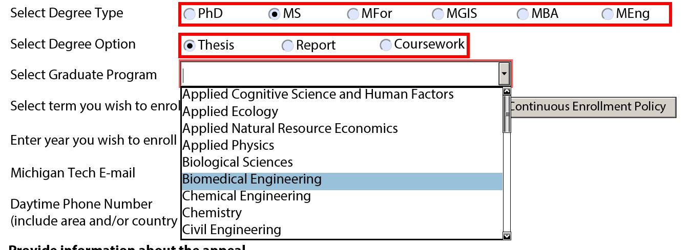 Degree options and graduate program for MS students. All students should use the dropdown menu to select their program. If your program is not listed, double check your degree option.