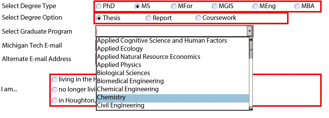 Degree options for MS students.