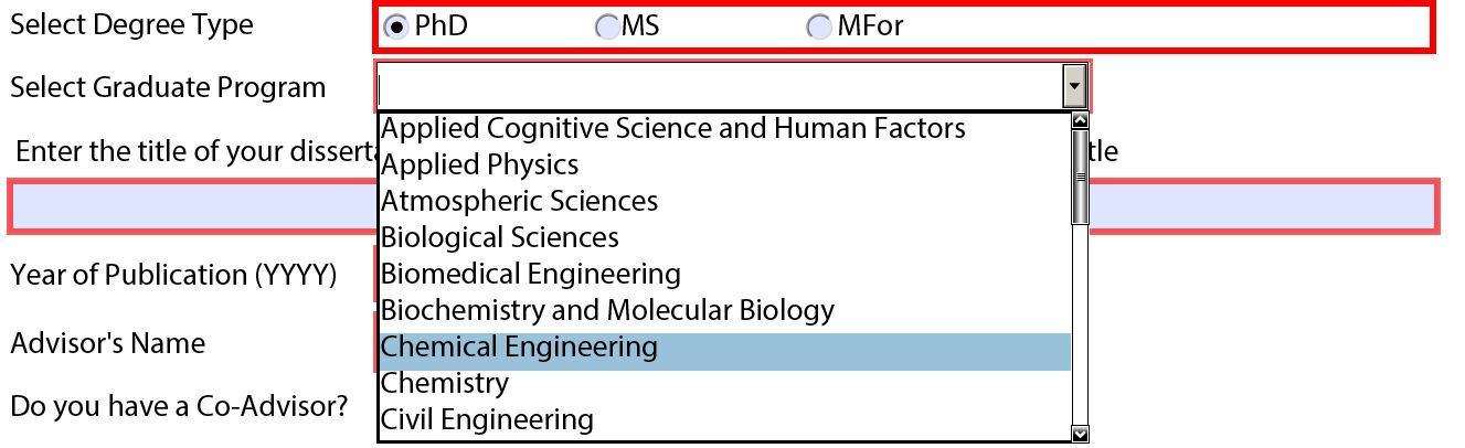 Graduate program selection. All students should use the dropdown menu to select their program. If your program is not listed, double check your degree option.
