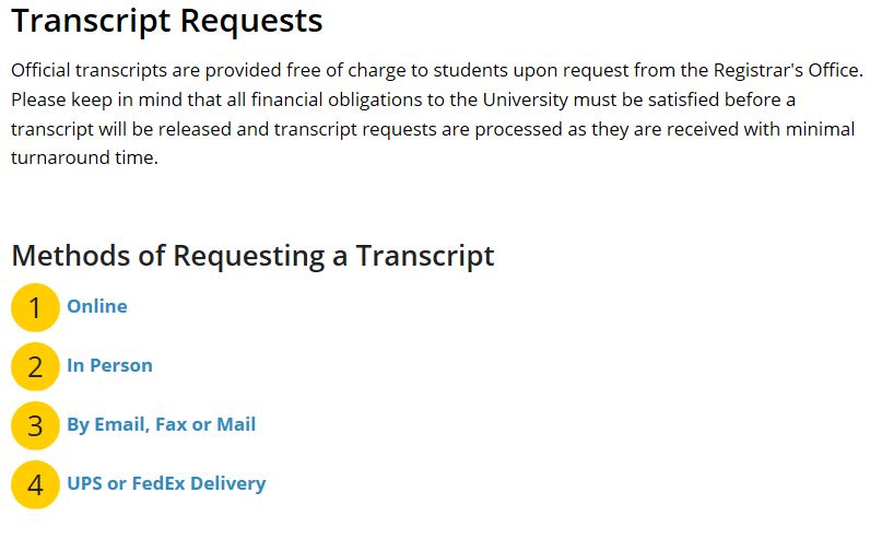 Ways to order transcripts.