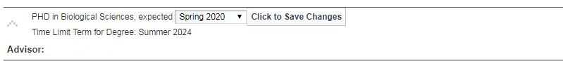 The drop-down box to change your expected graduation term should look like this.