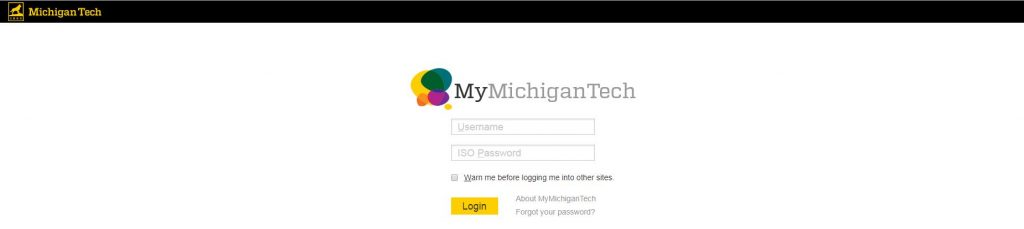 Login page for MyMichiganTech.