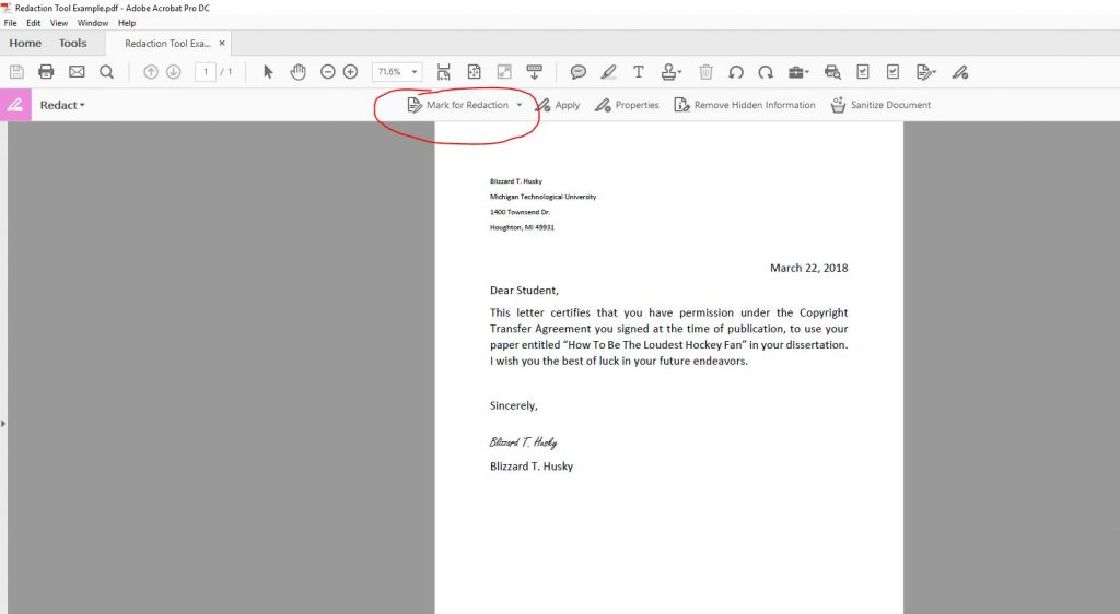 Mark for Redaction