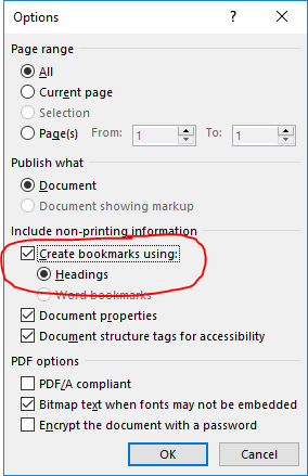 Screen shot showing how to create bookmarks when using Word to save a PDF file.