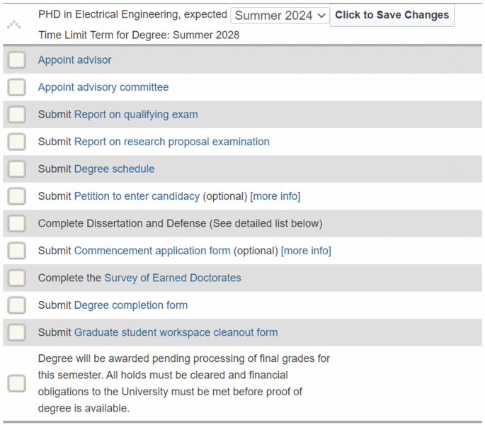 Screen shot of MyMichiganTech and the degree completion timeline page with degree requirements.
