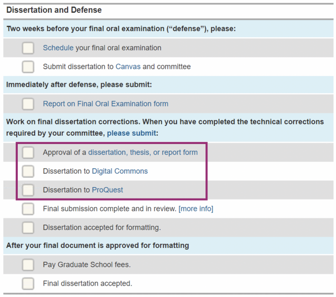 Screen shot of the degree completion timeline of MyMichiganTech illustrating what items are due after a defense.