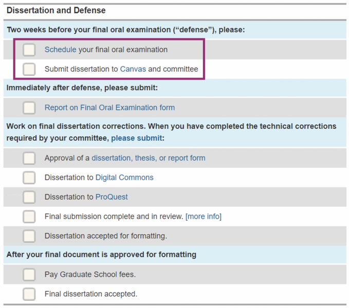 Screen shot of the degree completion timeline of MyMichiganTech illustrating what items are due before a defense.