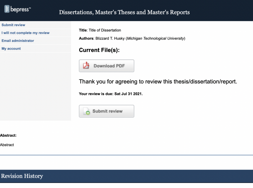 Screenshot of the landing page for a submission on Digital Commons.