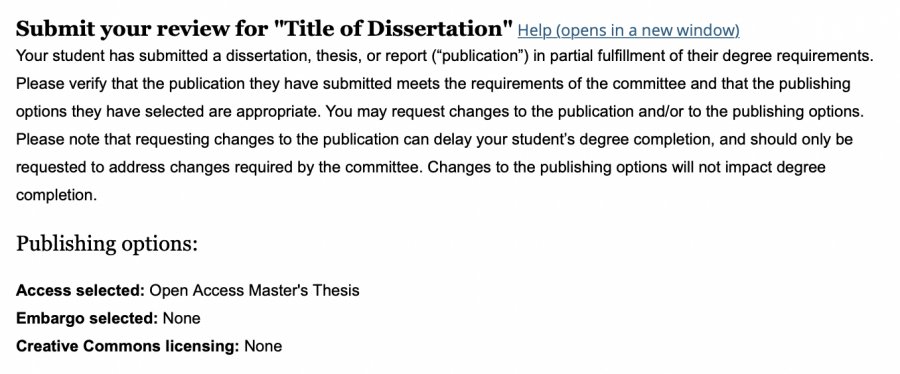 Screenshot of the top of the review page showing the directions and publishing options.