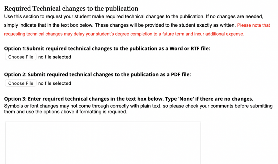 Screenshot of the section to provide technical comments to your student.