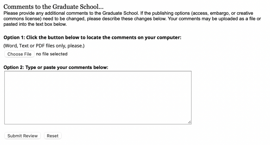 Screenshot of the comments to Graduate School section of the review.