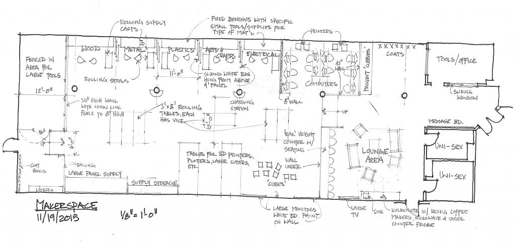 Preliminary floor plans courtesy of makerspacemtu.github.io/updates.html