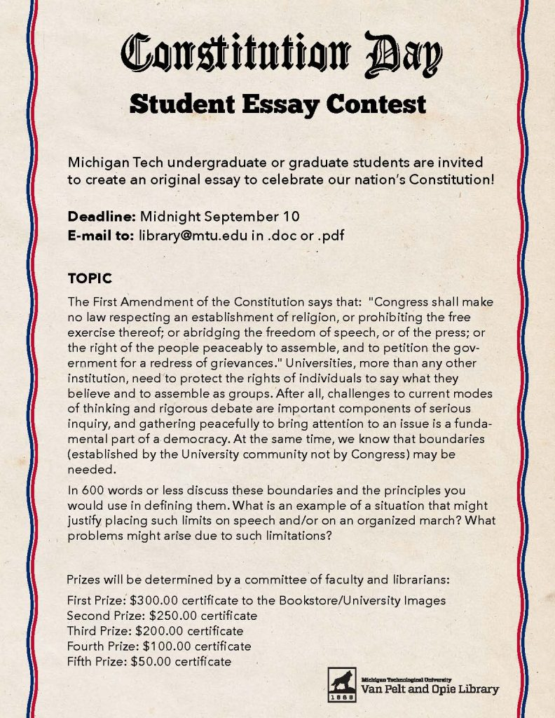 nh constitution day essay contest Each year more than 132,000 students in grades 6-8 enter the vfw's patriot's pen youth essay contest the national first-place winner wins $5,000 and an all- expense-paid trip to washington, dc the first-place winner from each state competes for national awards totaling $54,500, with each first-place state winner.