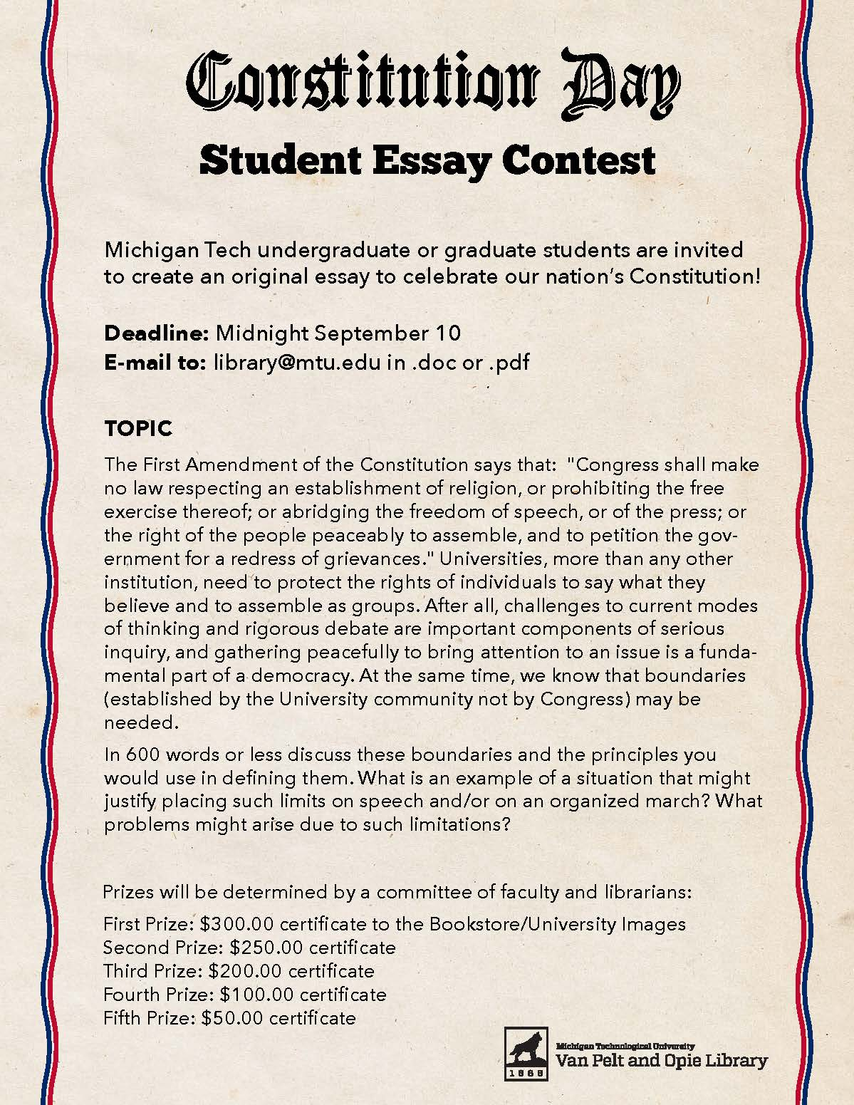 Constitution Day Student Essay Contest  Pavlis Honors College Blog Essaycontest Copy Compare And Contrast Essay Topics For High School Students also Proposal Essay Sample