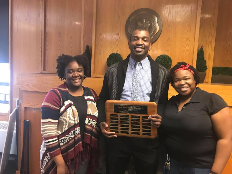 Percy Julian Award winners from 2016, 2017 and 2018. Left to right, Neffertia Tyner, Jimmie Cannon, and Logan McMillan