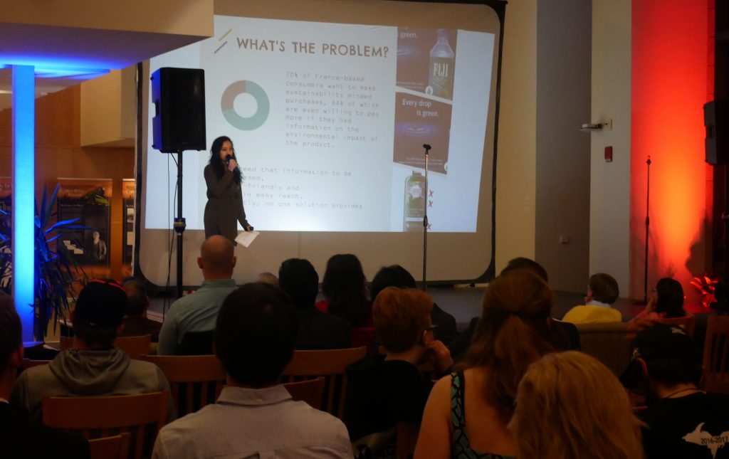 Karuna Rana presenting Reality Check, an app to verify product sustainability.