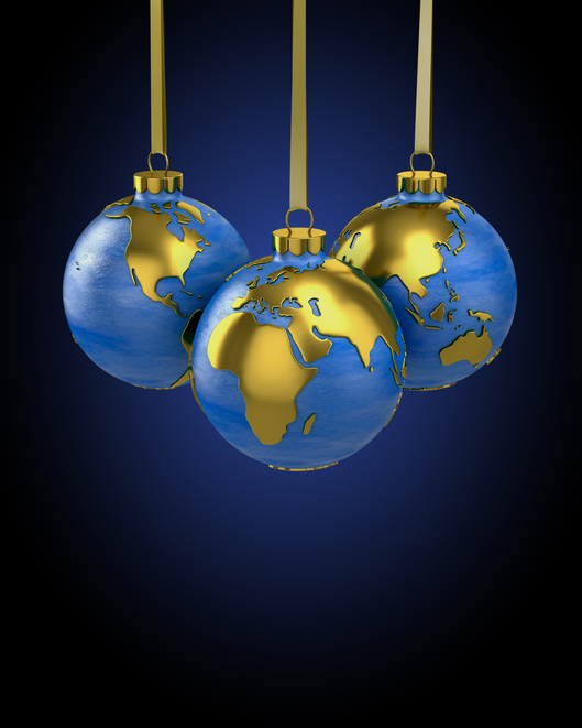 Three christmas balls shaped as globe or planet, Asia, Europe and America