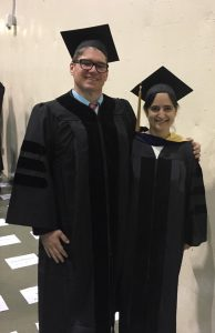 Joel Beatty and Stefka Hristova wearing graduation robes