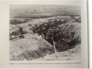 American soldiers in trenches during World War One