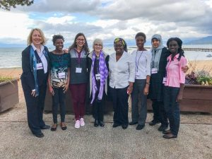 R.T.C. group at conference. Pictured from left to right: Victoria Bergvall, Toluulope Odebunmi, Sara Potter, Patty Sotirin, Nancy Henaku, Modupe Yusuf, Nada Mohammad Alfieir, and Nancy Achiaa Frimpong.