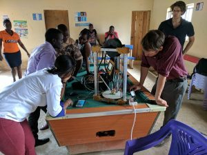 Noah Kozminski in a class with Kenyan students