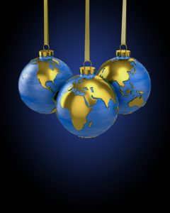 Earth globes as Christmas ornaments