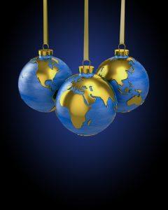Earth globes as Christmas ornaments