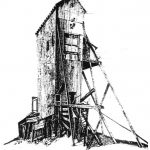 Drawing of the Quincy Mine Shaft by Jan Manniko