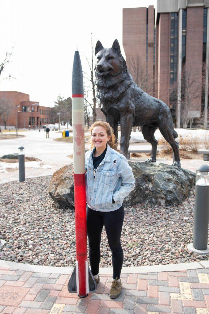 Emi Colman with rocket