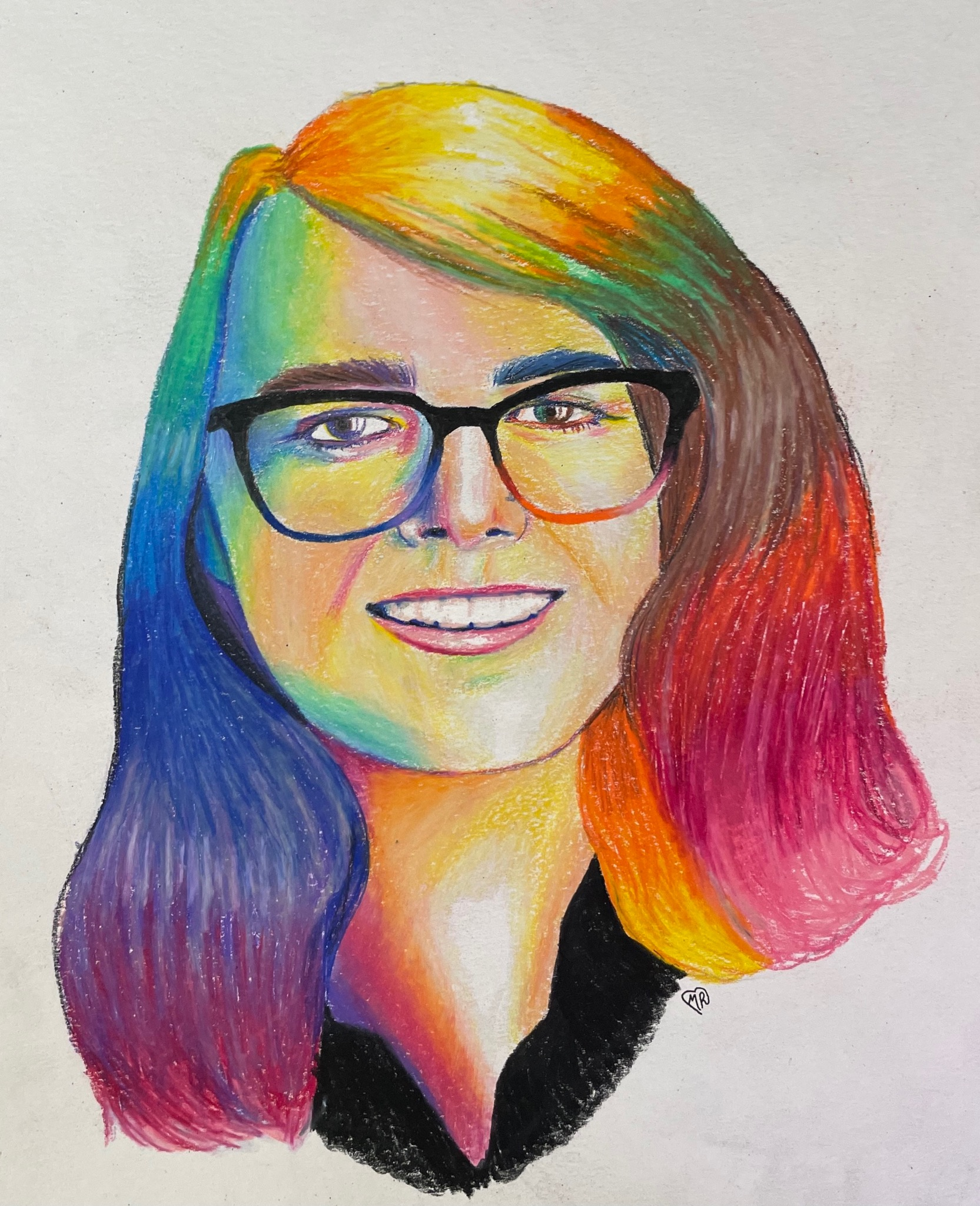 A young woman, Charlotte Jenkins, in a line drawing with rainbow colored hair, glasses, and a smilte.