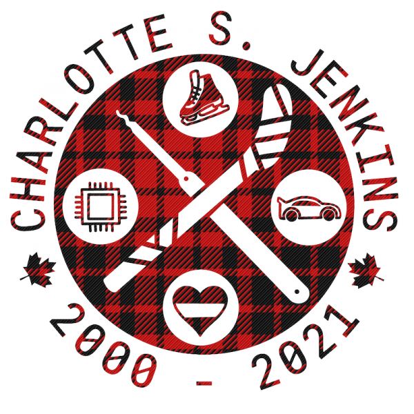 Charlotte S. Jenkins 2000-2021 patch with hockey stick and skates